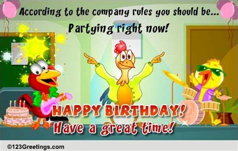 Company Birthday Rules! Free Boss & Colleagues eCards