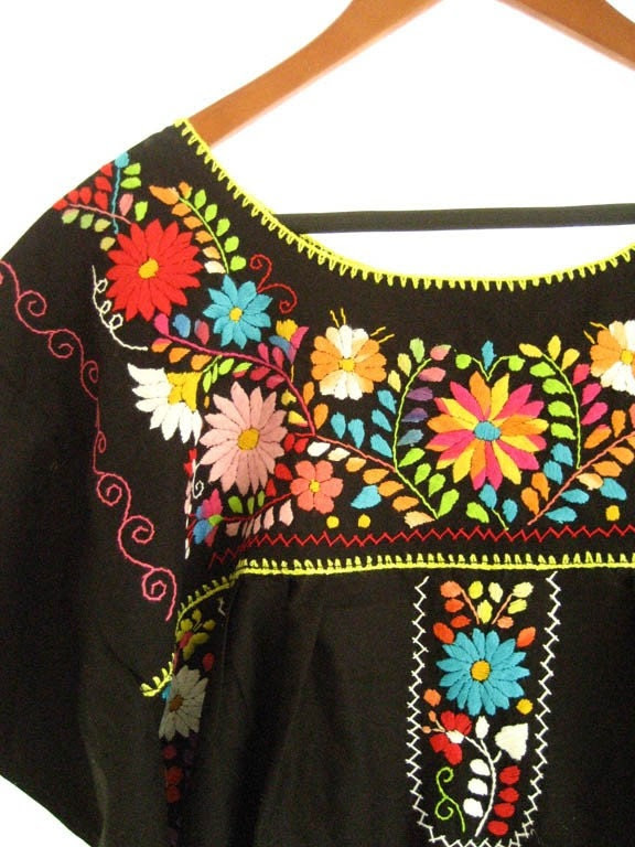 MExican embroidered dress Unique and 1980 s colorful color combintation over BLACK up to XL