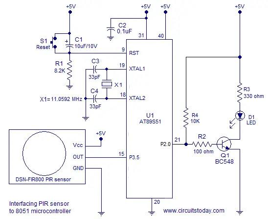 interfacing PIR sensor and 8051