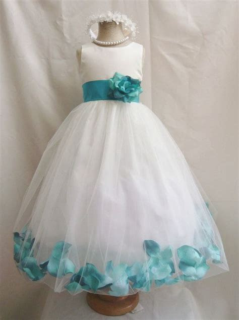 Flower Girl Dress IVORY/Teal PETAL Wedding Children Easter