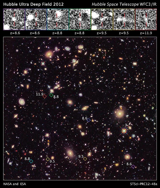 Esta nova imagem do Hubble profunda campanha de Campo Ultra 2012 revela uma população inédita de sete galáxias distantes.