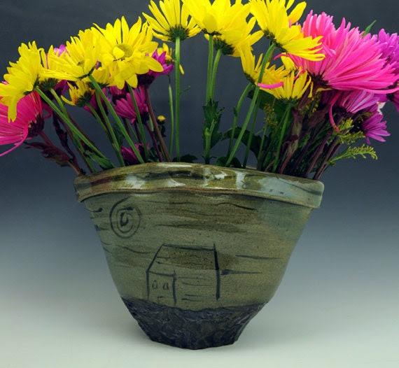 Altered Stoneware Vase, Celadon glaze and Black underglaze, sun and moon