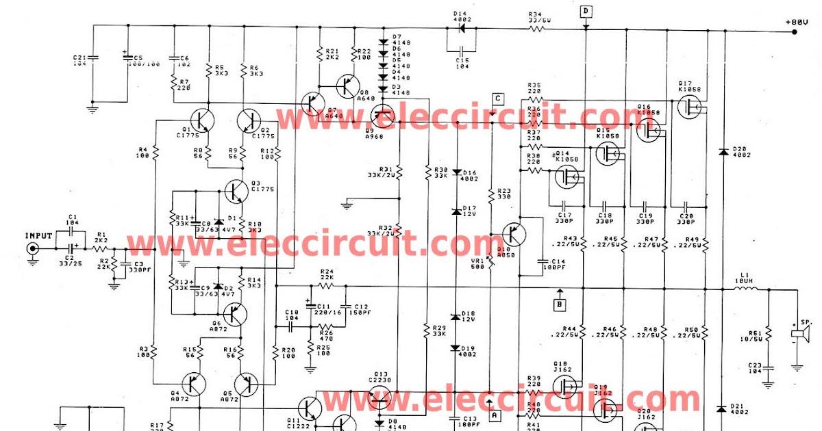 Simple High Watt Fet Amplifier Circuit Diagram - Complete ...
