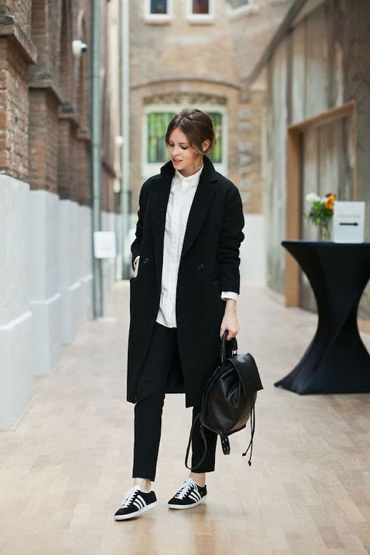 Le Fashion Blog 25 Ways To Wear Adidas Sneakers Black Coat Button Town Pants Leather Backpack Gazelle Christine Reehorst Via Fash N Chips