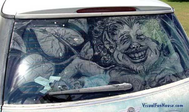Έργα τέχνης σε σκονισμένα αυτοκίνητα (7)