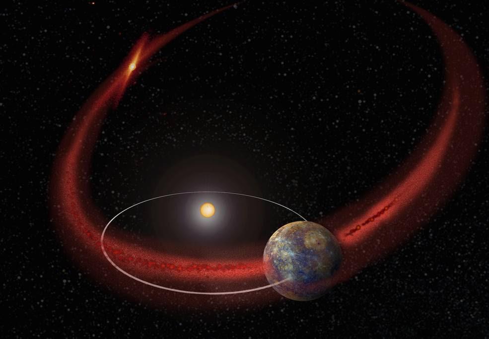 Mercurio parece estar sufriendo una lluvia de meteoros cada vez que su órbita cruza la estela de escombros dejada por el cometa Encke (concepto artístico).