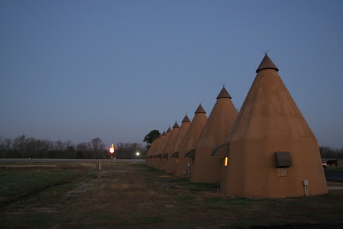 side view of tee pees lined up