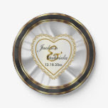 Gold & Faux Diamond & Black Wedding or Anniversary 7 Inch Paper Plate