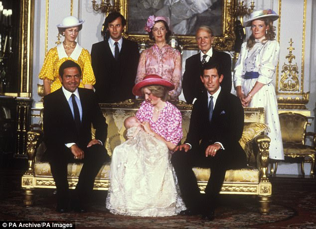 The Prince and Princess of Wales with Prince William and his godparents (seated) ex-King Constantine of Greece, (standing, left to right) Princess Alexandra, Lord Romsey, Lady Hussey, Sir Laurens Van Der Post and the Duchess of Westminster