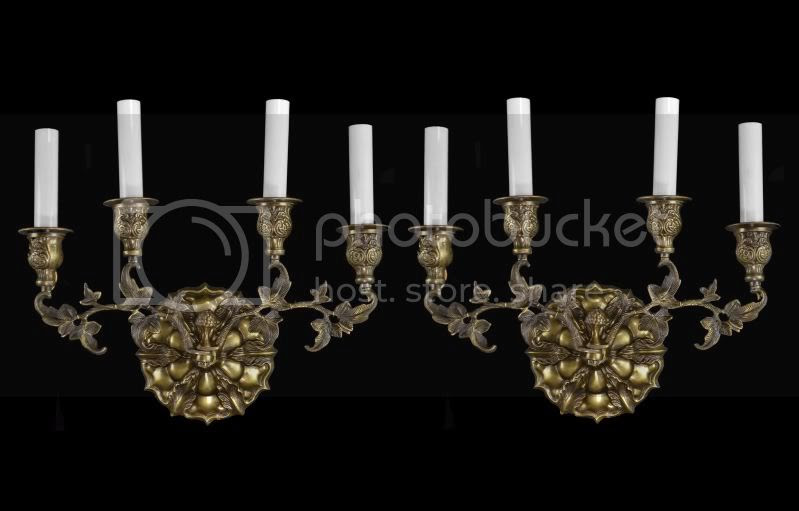 Pair Brass French Wall Sconces Lights Gold Vintage Antique Style ...