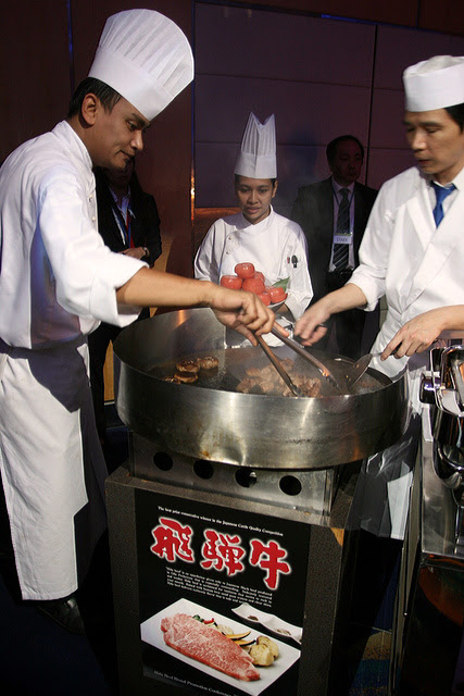 Chefs cooking up a storm with Hida Beef - the aroma was so tantalizing!