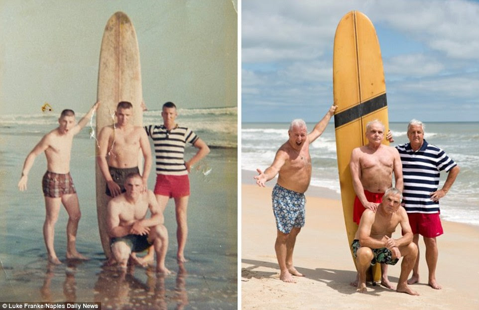 Then and now: Both photos show (clockwise from left) Dennis Puleo, now 69; Tom Hanks, 69; Bob Falk, 71; and Bob DeVenezia, 70. The original photo was taken in May 1966, just before the men were sent to Vietnam