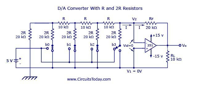 Digital to Analog Converter with R and 2R Resistors
