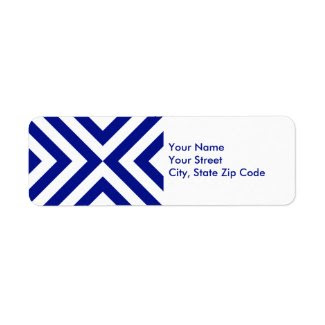 Blue and White Chevrons return address label