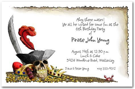 Pirate's Gold Birthday Party Invitations