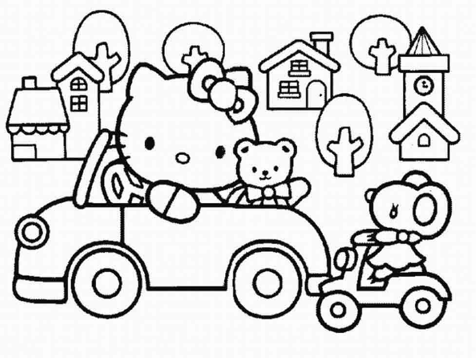 Download gratis Sketsa Mewarnai Hello Kitty