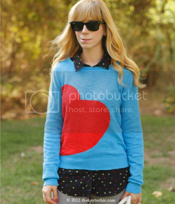 Target Mossimo heart print sweater, Forever 21 heart print blouse, Los Angeles fashion blog