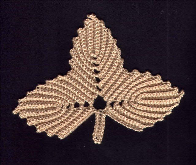 Crochet Leaf Tutorial - Lovely Irish Crochet Triple leaf.