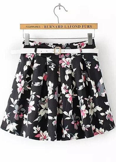 Black Pink Floral Pleated Skirt pictures