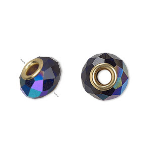 Bead, Dione®, Glass Gold-finished Brass Grommets, 32-facet, Cobalt AB, 13x9mm-14x10mm Faceted Rondelle, 4.5mm Hole. Sold Individually
