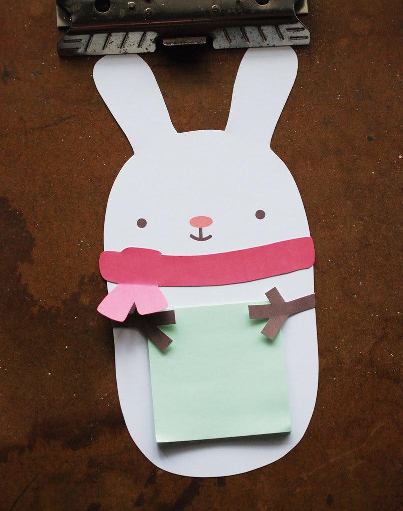 Snow Bunny Sticky Note Holder