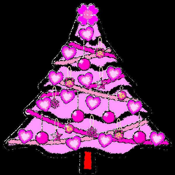 手書き風でかわいいラブラブなピンクのクリスマスツリーの無料