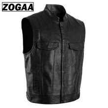 Spring Sleeveless Leather Vest Men Vest Black Biker Motorcycle