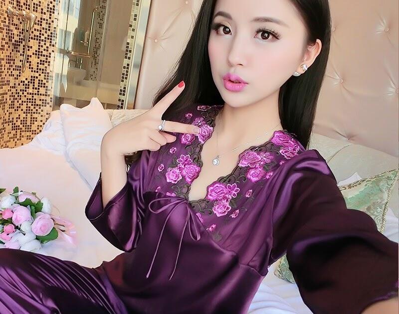 e3b7c8332 Comprar Feminino Pijamas De Seda Sexy Manga Longa Twinset Viscose Primavera  Verão Outono Lace Pajama Define Mulheres Sleepwear Baratas Online Preço ~  ...