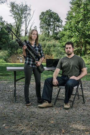 Security researchers Runa Sandvik, left, and husband, Michael Auger, right, have figured out how to hack into a Tracking Point TP750 rifle to control the trajectory of the bullets fired.