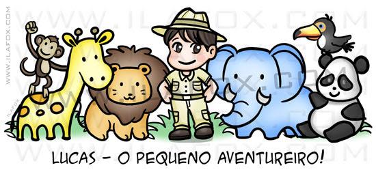 Caricatura fofinha, caricatura infantil, caricatura safari, bichinhos, by ila fox