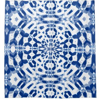 Blue Kaleidoscope Design on Shower Curtain