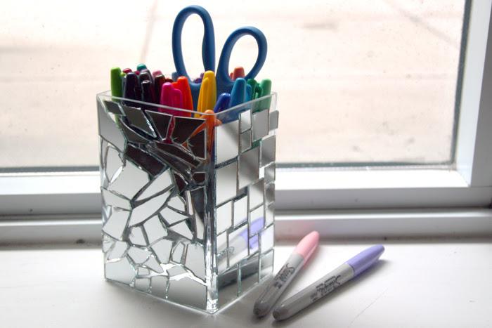 DIY :: Mirror Mosaic Pencil Holder