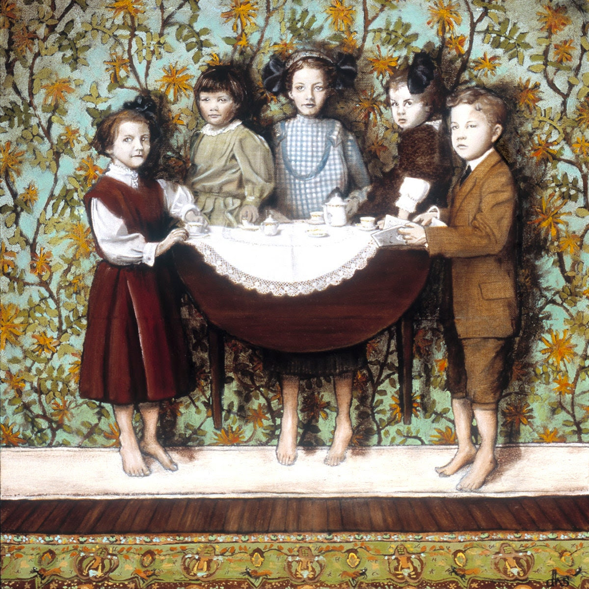 Tea Party, Art PRINT, children, magical, surreal, Victorian, William Morris, 8 x 8, archival from original Oil painting