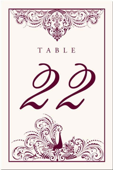 Bird Themed Peacock Wedding Table Numbers Vintage Table