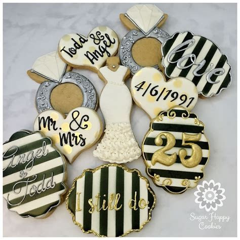 wedding sugar cookies, black and white, silver and gold