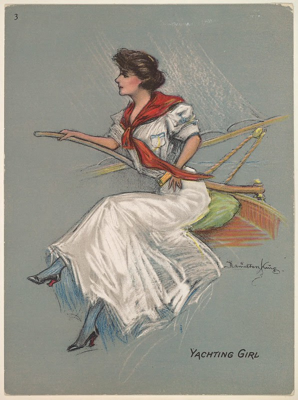 watercolour sketch of a seated woman holding the tiller of a partial sketch of the stern of a yacht
