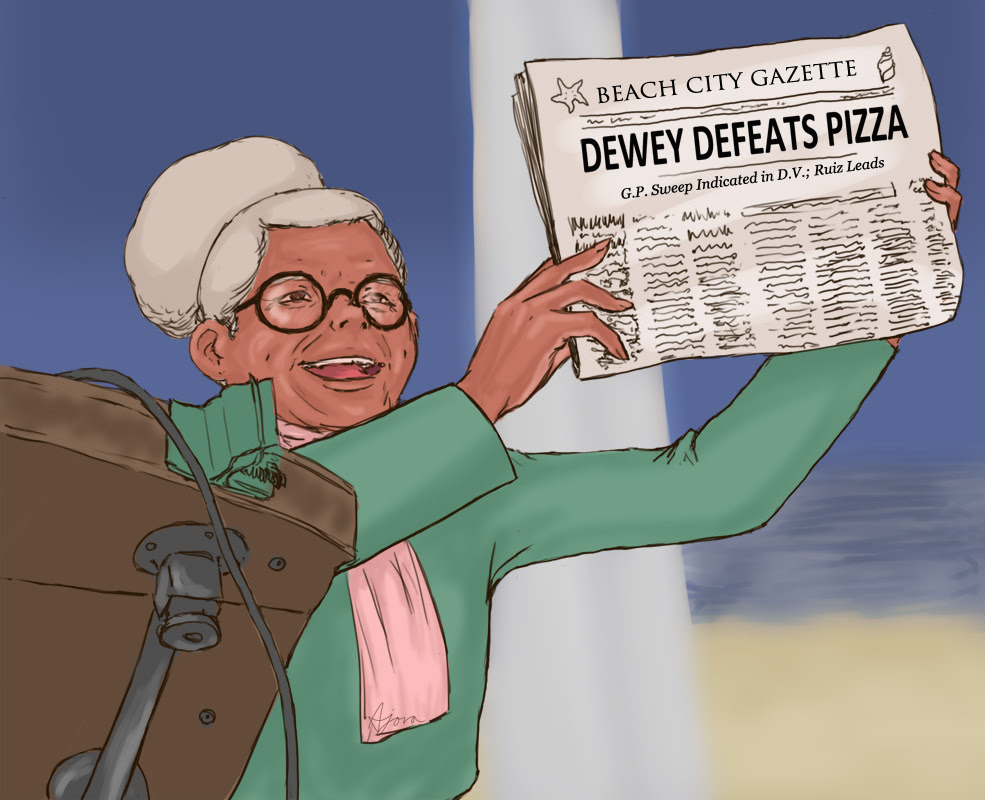 Spoiler warning! A really, really quick paint of Pizza Grandma because why not. Here's a little history: the 1948 Truman vs Dewey election and how one newspaper jumped the gun and presumed an outcome...