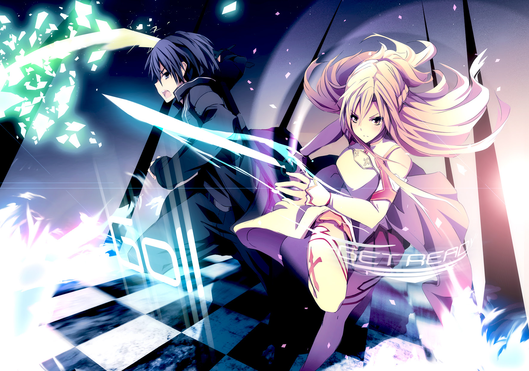 konachan 142674 black_eyes black_hair blonde_hair gloves kirigaya_kazuto long_hair merontomari short_hair sword sword_art_online weapon yellow_eyes yuuki_asuna.jpg