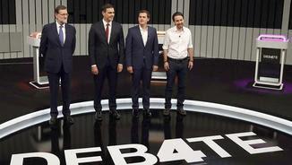 Debat entre quatre dels candidats a la presidència del govern espanyol.
