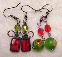 two wire wrapped Christmas earrings