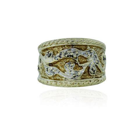 10k White & Yellow Gold .05ctw Diamond Wide Ring