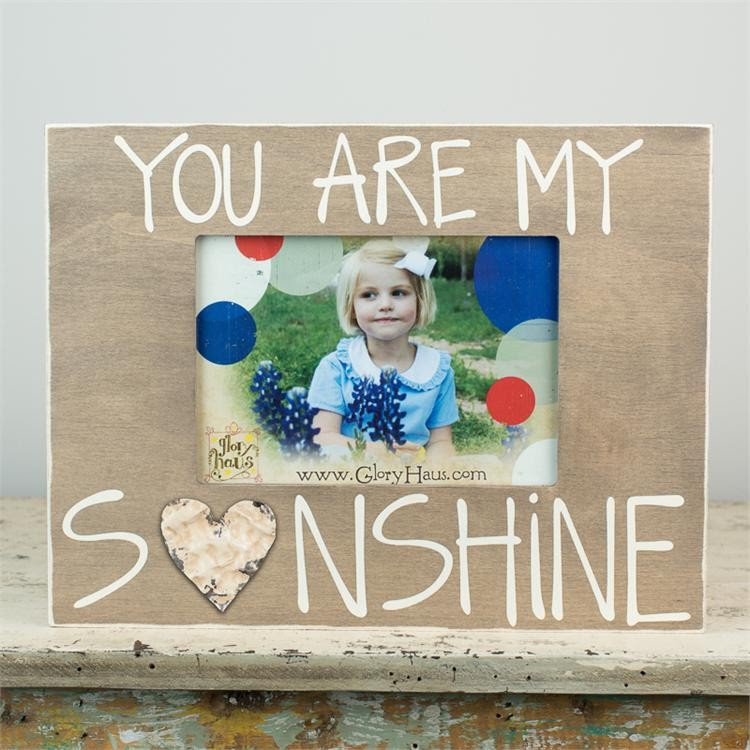 You Are My Sunshine Board Frame With Tin Heart