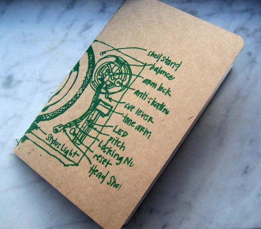 turntable amazing life organizer - small pocket moleskine cahier - green