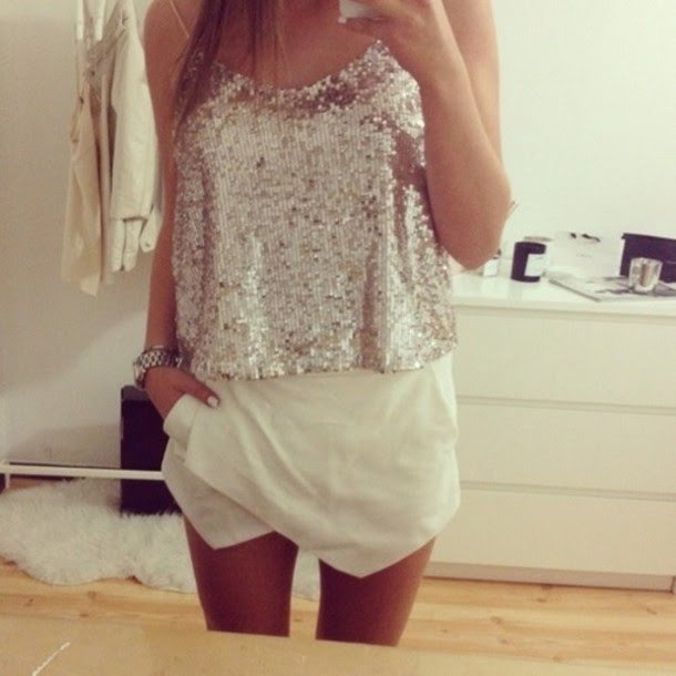 blouse sparkle shorts white skirt outfit top