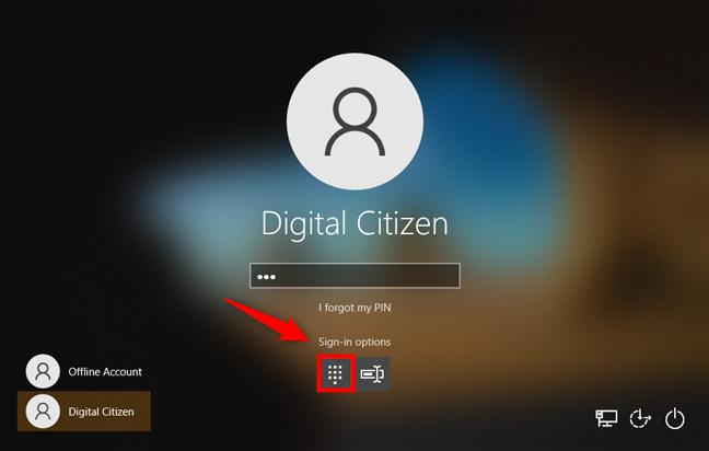 Opciones de inicio de sesión de Windows 10: seleccionar PIN