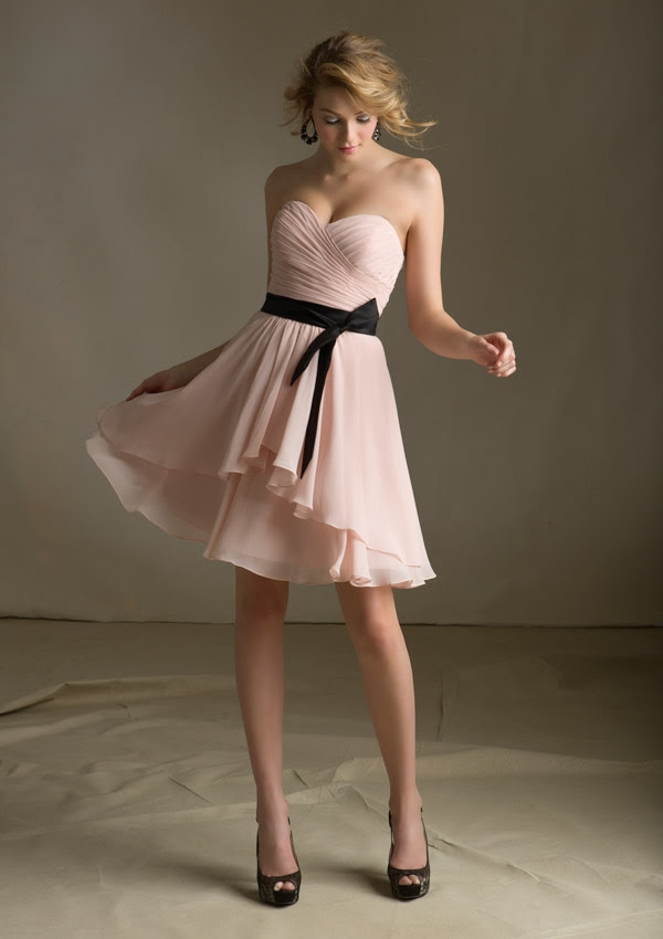 Nectarean A-line Sweetheart Ruching Short/Mini Chiffon Bridesmaid Dresses_1