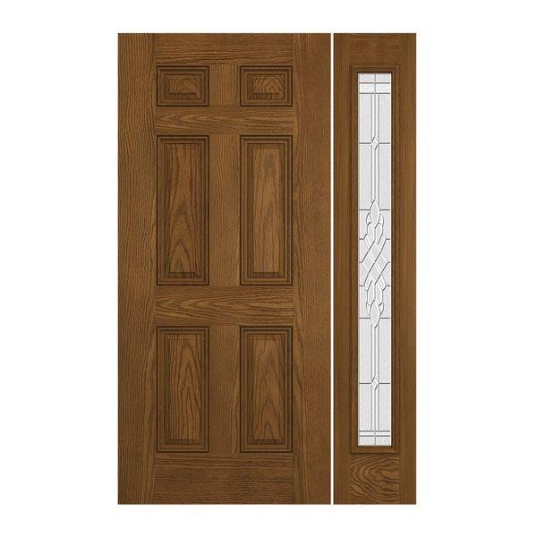 Prehung Exterior Design Pro 6 Panel Door W Prairie Bevel Sidelites