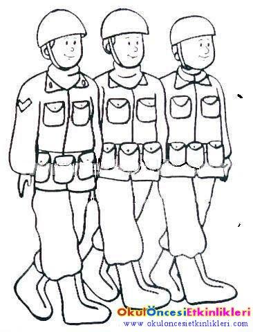 Vuruluyor Askerlerimiz Teker Teker Ve Asker Boyama Sayfaları Okul