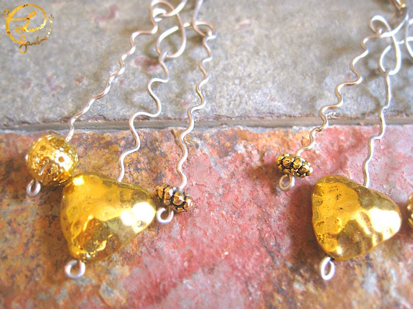 Unique Long Earrings. Silver Curly Wire, Golden Hearts and Beads. DICHOTOMY - LunaBanana