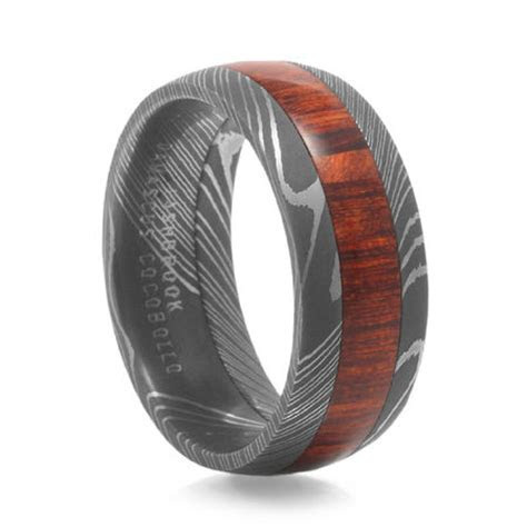 Men's Arbor Wood Grain Damascus Steel Ring by Lashbrook